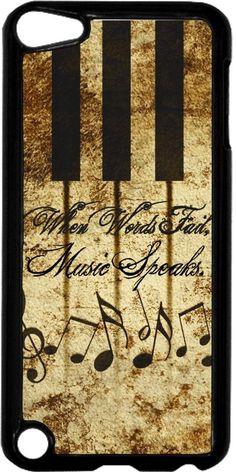 """Nice Saying - """"When Words Fail, Music Speaks."""" - Vintage Style - Black plastic snap on case - for the Apple iPod iTouch 5th Generation."""