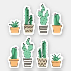 Cactus cacti succulent stickers - Sticker featuring cartoon illustrations of potted cacti. Fade proof, water proof and scratch resist - Stickers Cool, Cactus Stickers, Tumblr Stickers, Laptop Stickers, Kawaii Stickers, Bullet Stickers, Cactus Drawing, Cactus Art, Cactus Plants