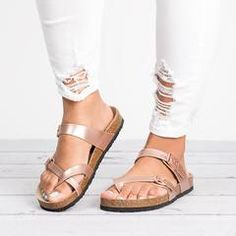 Criss Cross Sandals- Rose Gold - 9