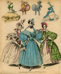 Victorian Fashion Plate Hand Coloured Bookplate Color Vintage Print Circa 1800 Hats Dresses Costumes Morning Dress via Etsy