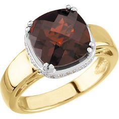 14kt Two-Tone Mozambique Garnet & 1/6 CTW Diamond Ring