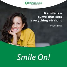 A smile is a curve that sets everything straight - Phyllis Diller Chennai, Dental Quotes, Phyllis Diller, Dental Hospital, Dental Implants, Oral Health, Dentistry, Clinic, Smile