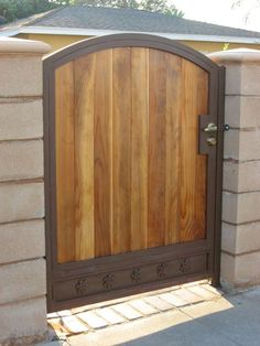 Wood Fencing Los Angeles - Wood Fence & Gates Installation and Repair - Steel Fence Co. Wood Fence Gates, Fence Doors, Metal Gates, Brick Fence, Wooden Gates, Front Yard Fence, Fence Panels, Fence Art, Wire Fence