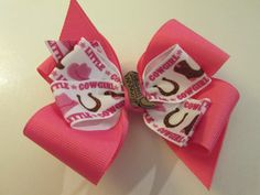 Hot Pink  Country Girl Western Toddler Hair Bow by preciouscurls,