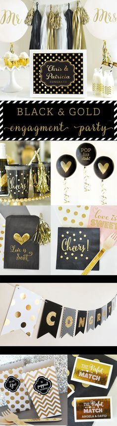 Engagement Party Ideas and Decorations in Black and Gold - Great Engagement Party Decor! Metallic Gold Foil Engagment party decor signs by Mod Party