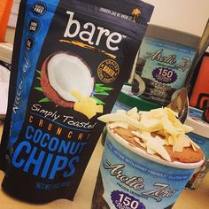Perfect afternoon delight...we're #locoforcoco with our coconut chips on Arctic Zero frozen deliciousness! #arcticzero #baresnacks