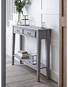 Console Tables, Small & Narrow Hallway Console Tables with Storage UK hallway decorating halls ideas paint hallway ideas ideas small ideas entrance Table Console Blanche, Gray Console Table, Small Console Tables, Small Hall Table, Small Tables, Grey Table, Small Table Ideas, Bar Console, Console Table Living Room