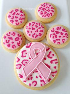 pink ribbon, leopard print cookies