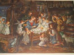 Vintage West German Advent Calendar Manger Scene #53 | eBay