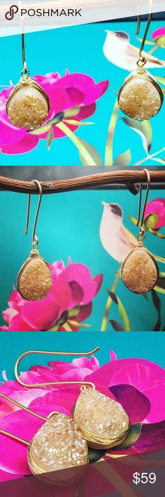 "Blush Druzy teardrop earrings Wire wrapped with 14k gold fill , blush tear drop earrings. Simple to go with just about anything. One of my best sellers at shows. Match any style. Beautiful raw , natural stone. Please note stone maybe art according to natural cut of the stone and color may not be a perfect match. Length about 1.5"". Allergy safe. Matana Jewelry Earrings"
