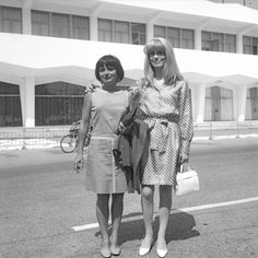 French actress Catherine Deneuve wearing a polkadotted dress portrayed while standing in front of the Movie Festival building with the director Agnes. Catherine Deneuve, Agnes Varda, French Icons, Blind Girl, Cinema Posters, Cinema Movies, French Actress, Film Festival, Wonder Woman