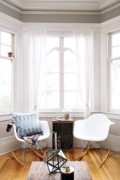Window Nook, Unconventional Rocking Chairs, Grey Walls // comfort