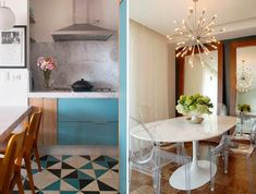 Mármore na decoração - Luiza Gomes Mirror, Table, Furniture, Home Decor, Dining Room, Granite Stone, Carrara Marble, Wood Pieces, Light Colors