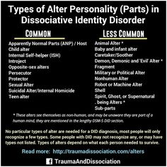 Types of alters in #dissociativeidentitydisorder Common: Apparently Normal Parts (ANP) / Host,Child alter,Internal Self-helper (ISH),Introjects,Opposite-sex alters,Persecutor,Protector,Sexual Alter,Suicidal Alter or Internal Homicide,Teen alter. Less Common: Animal Alter,Baby and infant alter, Caretaker/Soother, Demon, Demonic and 'Evil' Alter, Fragment, Military or Political Alter, Nonhuman Alter, Robot or Machine Alter, Shell, Spirit, Ghost, or Supernatural being Alters,Sub-parts. No…
