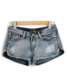 Distressed Denim Shorts with Curved Hem