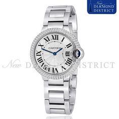 Ladies 2.00ct Diamond Midsize Cartier Ballon Bleu Quartz W69011Z4 Watch #Cartier