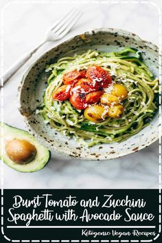 Burst Tomato and Zucchini Spaghetti tossed with a simple, creamy, vegan avocado sauce. This healthy recipe is ready in 30 minutes! Healthy Crockpot Recipes, Real Food Recipes, Vegetarian Recipes, Cooking Recipes, Crockpot Meals, Dessert Recipes, Easy Family Meals, Quick Easy Meals, Tastemade Recipes