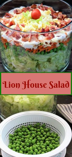 Lion house layered salad makes a pretty salad and a fun, delicious salad all in one. I love to layer it in a glass bowl because it just seems extra special. Lettuce Recipes, Veggie Recipes, Layered Salad With Peas, House Salad, Swiss Cheese, Meal Prep For The Week, Chopped Salad, Kinds Of Salad, How To Make Salad