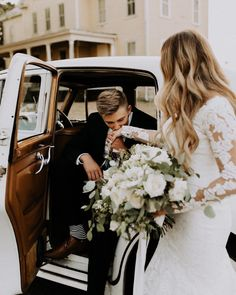 getaway car for wedding. adorable bohemian wedding modern