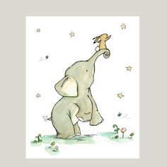 Childrens Art  Reach For The Stars 13x19  Art by trafalgarssquare, $36.00