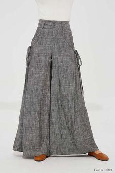 Gray linen pants linen palazzo pants wide leg pant womens   Etsy