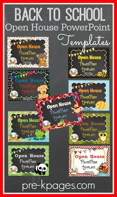 Back-to-School Open House PowerPoint Templates available in several themes. Super cute and all the hard work is done, just type in your class info and you're good to go!