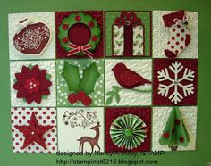 Christmas shadow box ... This is the inside panel.  ... each panel made with  Stampin' Up! supplies ... luv the way it features some of my favorite  Stampin' Up! punches ... red, white and green ...