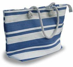 New England Cream/Blue Stripe Nautical Tote Bag - http://buyshoe.eu/new-england-creamblue-stripe-nautical-tote-bag.html