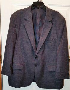 Mens Suit Coat 48 S Charcoal Blue Herringbone Sport Jacket Blazer Best&Sauls…