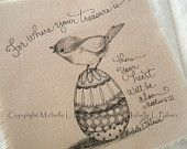 Original Pen Ink on Fabric Illustration Quilt Label by Michelle Palmer Spring Chickadee Bird Decorated Egg