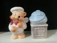 Teddybeer Cook met brood en Oven, zout en peper Shakers Set, Vintage