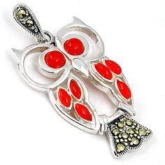 ART DECO MARCASITE RED CORAL 925 STERLING SILVER OWL PENDANT JEWELRY H6210 #jewelexi #Pendant
