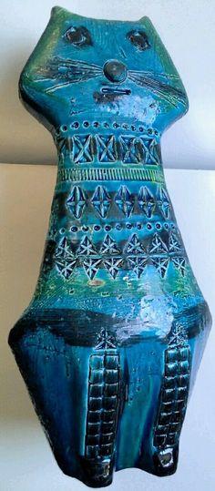 MCM Italian pottery Rimini blue Cat figure Aldo Londi Bitossi | eBay