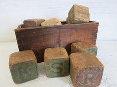 Antique Wood Blocks Wood Box Vintage Letter Blocks by WrensAttic