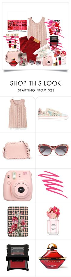 """""""Summer Colors...PINK + RED"""" by onesweetthing ❤ liked on Polyvore featuring Levi's, RED Valentino, Valentino, Dolce&Gabbana, NARS Cosmetics, Casetify, Marc Jacobs, Tom Ford, Illamasqua and Guerlain"""