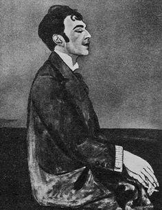 Анна Зельманова-Чудовская. Портрет О.Мандельштама. 1914