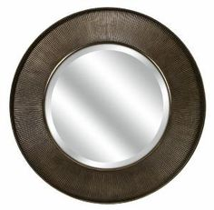 """40"""" Oversized Modern Windsor Dark Bronze Finish Round Beveled Wall Mirror from Christmas Central at SHOP.COM"""