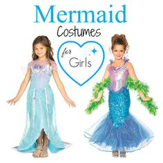 Girls #Mermaid Halloween #Costumes are so pretty and every girl dreams of being under the sea swimming around free.  These are high up on my list of little girls costume ideas.