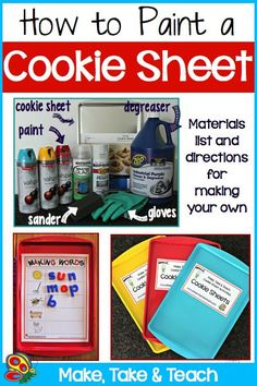 How to Paint a Cookie Sheet. Perfect to use with magnetic numbers or letters. Thinking Math or Literacy centers.