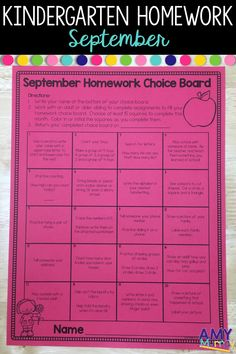 Kindergarten Homework Choice Board - September (beginning of the year)  This monthly homework menu is perfect for back to school time and it includes a variety of skills at the kindergarten level.  It is a great option for kindergarten teachers who do not want to assign homework but are pressured to by parents or required to give homework.  Includes beginning of the year skills (numbers