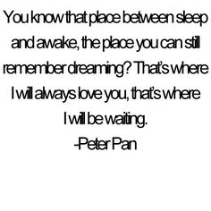 """You know that playground between sheep and awake, the place you can still remember dreaming?  That's where I will always love you, that's where I'll be waiting."" -Peter Pan"