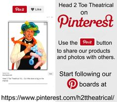 Share, Pin, Like, Follow Head 2 Toe Theatrical on Pinterest. See our new products and special sales. If you need wigs, costumes, makeup, props, or ideas... we have you covered.