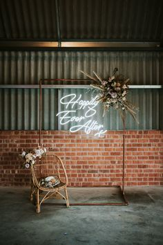 Dried Flowers and Floral Wedding Dress for Luxury Boho Inspiration at the Giraffe Shed Happily Ever After Neon Sign on Copper Frame with Dried Flowers Wedding Decor Shed Wedding, Wedding Signs, Boho Wedding, Floral Wedding, Wedding Flowers, Wedding Props, Luxury Wedding, Destination Wedding, Dream Wedding