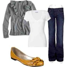 white t-shirt, gray cardigan, jeans, and colored flats (my peach ones).