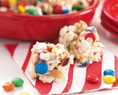 Popcorn, marshmallow, peanuts, and M&M's Yum