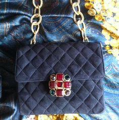 Early 90s vintage CHANEL suede purse with gold chain by eNdApPi, $1838.00