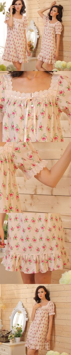 Short Sleeve Short Floral Nightgowns Womens Home Dress Summer Sleepwear Country Pastoral Style Nightgowns for Women Sheer Lingerie, Pretty Lingerie, Lingerie Sleepwear, Nightwear, Fashion Night, Cute Fashion, Good Night Sweetheart, Cotton Nighties, Sexy Corset