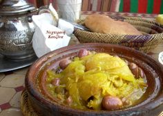 Chicken Tagine with green olives, Marrakech, Morocco. Marrakech Morocco, Greek Recipes, Kitchen Recipes, Olives, Chicken, Green, Food, Greek Food Recipes, Meals