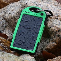 Water-resistant  and shock-proof portable solar charger for iPhone, iPad and other mobile devices.