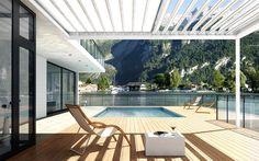 Fledmex: Ein Lamellendach als Terrassenüberdachung - statt Markise.
